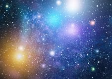 Stars, dust and gas nebula in a far galaxy. Royalty Free Stock Photo