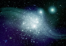 Stars, dust and gas nebula in a far galaxy Stock Photos