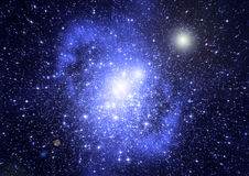 Stars, dust and gas nebula in a far galaxy Stock Image