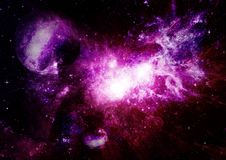 Stars, dust and gas nebula in a far galaxy Stock Photo