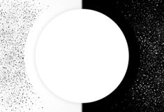 Stars dust scattered spray cluster two tone abstract background. Horizontal. Black and white distress cover template vector illustration
