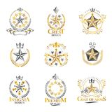 Stars emblems set. Heraldic Coat of Arms decorative logos isolat Stock Images