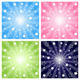 Stars explosion. Set of four stars explosion backgrounds in  four tones:azure,pink,green,blue.Isolated on white.EPS file available Royalty Free Stock Images