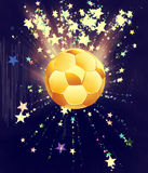 Stars Explosions and Soccer Ball. Soccer of football ball on abstract background with shining stars Stock Photo