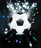 Stars Explosions and Soccer Ball. Soccer of football ball on abstract background with shining stars Royalty Free Stock Photography