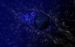 Stars eye. Illustrated planetarium with a stars eye and earth in the epicenter Stock Image