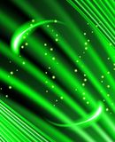 Stars are falling on the background of green rays. Royalty Free Stock Photos