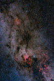 Stars field and nebulae in the milky way. Wide field image of stars field and nebulae in the milky way Stock Photography