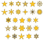 STARS Filled Outline Icons Royalty Free Stock Photo