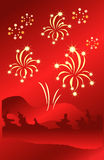 Stars fireworks on abstract red background. Vector illustration. Royalty Free Stock Image