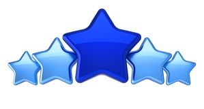 Stars five 5 arranged row colored blue. Award top quality excellent leader leadership symbol concept. 3d illustration, isolated royalty free illustration