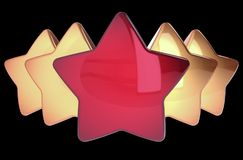 Stars 5 five arranged row one red four golden leadership concept. Stars 5 five arranged row one red four golden. Award top quality excellent leader leadership vector illustration