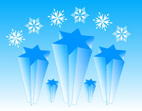 Stars and flakes. Illustration of stars and flakes, blue Royalty Free Stock Photography