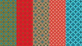 Stars and floral patterns in red, green and bronze for textile, fabric and background designs Royalty Free Stock Photography