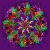 STARS FLOWER MANDALA. ART DECO STYLE. PLAIN VIOLET BACKGROUND. COLORFUL IMAGE IN GREEN, FUCHSIA, PURPLE, BLUE, YELLOW, ORANGE, RED royalty free illustration