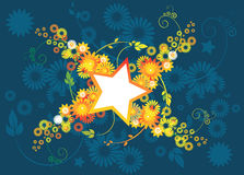 Stars and flowers. Floral designs with stars and flowers Royalty Free Stock Image