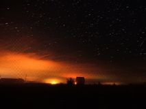 Stars in the fog. Starry sky fog sunset, Russia Stock Images