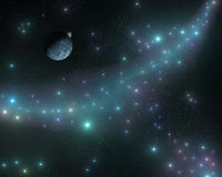 The stars in the galaxy, a stellar nebula, planets in space Royalty Free Stock Images