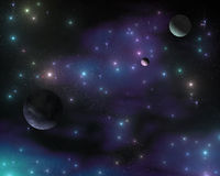 The stars in the galaxy, a stellar nebula, planets in space Stock Photos