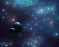 The stars in the galaxy, a stellar nebula, planets in space Royalty Free Stock Image