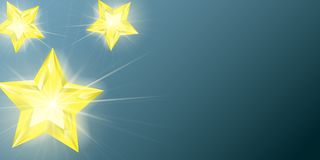 Stars with glowing lights effect. Star. Christmas 3d realistic glass toy with golden glare. Transparent Object. Vector illustratio. Beautiful garland with Royalty Free Stock Photo