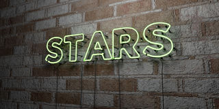 STARS - Glowing Neon Sign on stonework wall - 3D rendered royalty free stock illustration Stock Photos