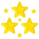 Stars Golden yellow on white background vector.  Stock Photos