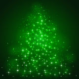 Stars on green background. Green background with shining stars and blurry lights, illustration Royalty Free Stock Photos
