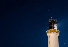 Stars at Greyhope Bay Lighthouse Royalty Free Stock Image