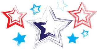 8 Stars Hand Drawn. Cute stars vector pack hand drawn (8) illustration in red white blue Royalty Free Stock Photos