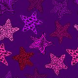 Stars, hand drawn doodle on dark purple background. Stars, hand drawn doodle, sketch in naïve, pop art style, seamless pattern design on dark purple background Royalty Free Stock Photography