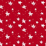 Stars hand drawn red pattern. Red and white hand drawn stars and drops seamless pattern. Christmas and New year wrapping royalty free illustration