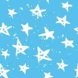 Stars hand drawn seamless pattern. Blue seamless pattern with white hand drawn stars. Starry night wrapping royalty free illustration