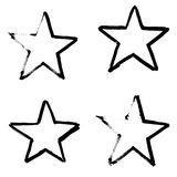 Stars Hand Drawn Set Isolated on White Background. Stock Images