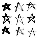 Stars Hand Drawn Set Isolated on White Background. Royalty Free Stock Photography