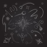 Stars hand drawn. Hand drawn vector picture on blackboard. Stars decorative templates Royalty Free Stock Image