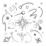 Stars hand drawn. Hand drawn vector picture. stars decorative templates Royalty Free Stock Photos