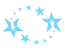 Stars hands. Hands in the blue coloured rounding stars Royalty Free Stock Photos