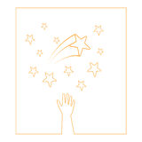 Stars hands. A hand trying to reach stars Royalty Free Stock Images