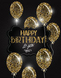 stars and Happy Birthday wishes on the textile background. Vector illustration with abstract gold air balloons with stars and Happy Birthday wishes Stock Images