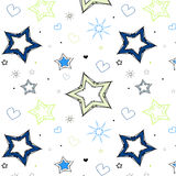 Stars hearts blue green kids pattern Stock Images