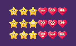 Stars And Hearts Emoji Character Set. Of Flat Bright Color Trendy Cartoon Design Vector Icons On Violet Background vector illustration