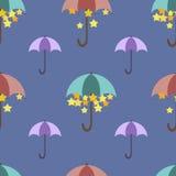 Stars are hidden under a bright umbrella, pattern Stock Photo