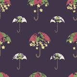 Stars are hidden under a bright umbrella, seamless pattern.  Royalty Free Stock Images