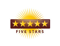 5 stars icon. Five stars illustration with rays, icon design, isolated on white background Stock Photos
