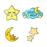 Stars icon set, cartoon style. Stars icon set. Cartoon set of stars vector icons for web design isolated on white background Royalty Free Illustration