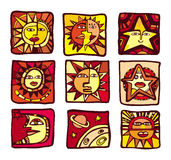 Stars icons. A collection of abstract icons: planets, stars suns, moons, icons Royalty Free Stock Photos