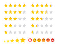 Stars icons and smilies ranking scales set vector illustration. Royalty Free Stock Images