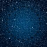 Stars il cielo blu scuro stellato del ircle in stelle royalty illustrazione gratis
