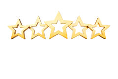 5 stars isolated gold white Royalty Free Stock Image
